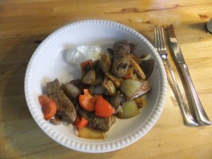 biff med grønnsaker